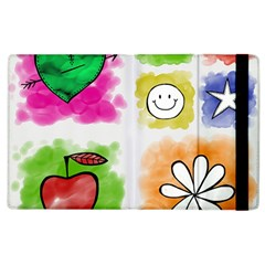 A Set Of Watercolour Icons Apple Ipad 3/4 Flip Case by Amaryn4rt