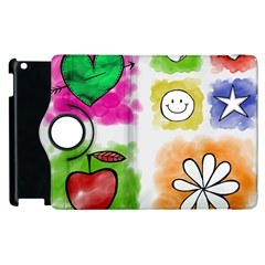 A Set Of Watercolour Icons Apple Ipad 3/4 Flip 360 Case by Amaryn4rt