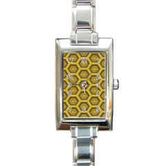 Golden 3d Hexagon Background Rectangle Italian Charm Watch by Amaryn4rt