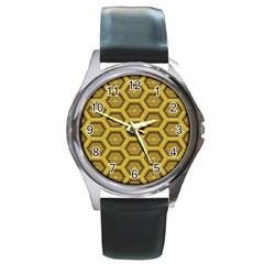Golden 3d Hexagon Background Round Metal Watch by Amaryn4rt