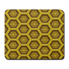 Golden 3d Hexagon Background Large Mousepads by Amaryn4rt