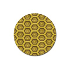 Golden 3d Hexagon Background Magnet 3  (round) by Amaryn4rt