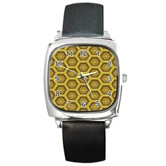 Golden 3d Hexagon Background Square Metal Watch by Amaryn4rt