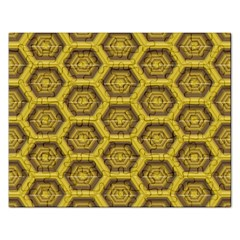 Golden 3d Hexagon Background Rectangular Jigsaw Puzzl by Amaryn4rt