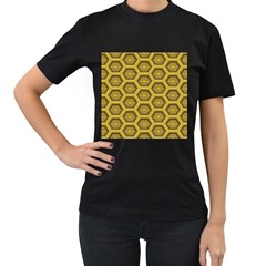 Golden 3d Hexagon Background Women s T Shirt (black) (two Sided) by Amaryn4rt
