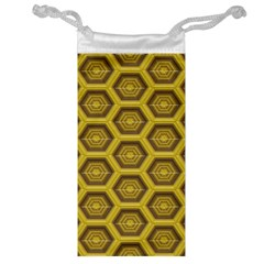 Golden 3d Hexagon Background Jewelry Bag by Amaryn4rt