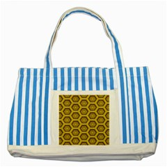 Golden 3d Hexagon Background Striped Blue Tote Bag by Amaryn4rt