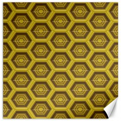 Golden 3d Hexagon Background Canvas 16  X 16