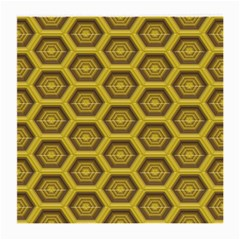 Golden 3d Hexagon Background Medium Glasses Cloth by Amaryn4rt