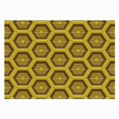 Golden 3d Hexagon Background Large Glasses Cloth (2 Side) by Amaryn4rt