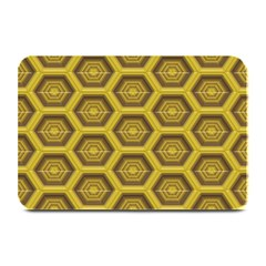 Golden 3d Hexagon Background Plate Mats by Amaryn4rt