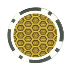 Golden 3d Hexagon Background Poker Chip Card Guard by Amaryn4rt