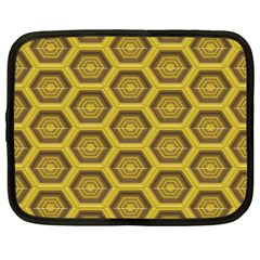 Golden 3d Hexagon Background Netbook Case (large) by Amaryn4rt