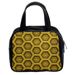 Golden 3d Hexagon Background Classic Handbags (2 Sides) by Amaryn4rt