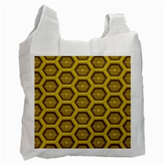 Golden 3d Hexagon Background Recycle Bag (one Side) by Amaryn4rt