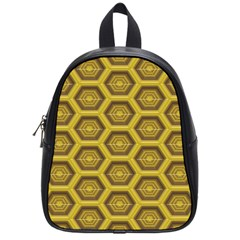Golden 3d Hexagon Background School Bags (small)  by Amaryn4rt