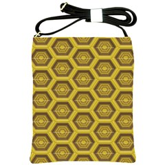 Golden 3d Hexagon Background Shoulder Sling Bags by Amaryn4rt