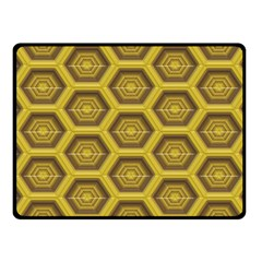 Golden 3d Hexagon Background Fleece Blanket (small) by Amaryn4rt