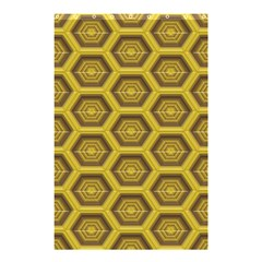 Golden 3d Hexagon Background Shower Curtain 48  X 72  (small)  by Amaryn4rt