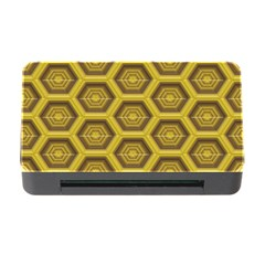 Golden 3d Hexagon Background Memory Card Reader With Cf by Amaryn4rt