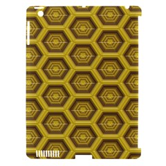 Golden 3d Hexagon Background Apple Ipad 3/4 Hardshell Case (compatible With Smart Cover) by Amaryn4rt