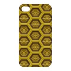 Golden 3d Hexagon Background Apple Iphone 4/4s Premium Hardshell Case by Amaryn4rt