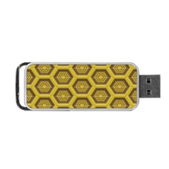 Golden 3d Hexagon Background Portable Usb Flash (two Sides) by Amaryn4rt