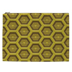 Golden 3d Hexagon Background Cosmetic Bag (xxl)  by Amaryn4rt