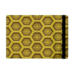 Golden 3d Hexagon Background Apple Ipad Mini Flip Case by Amaryn4rt