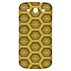 Golden 3d Hexagon Background Samsung Galaxy S3 S Iii Classic Hardshell Back Case by Amaryn4rt