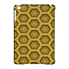 Golden 3d Hexagon Background Apple Ipad Mini Hardshell Case (compatible With Smart Cover) by Amaryn4rt