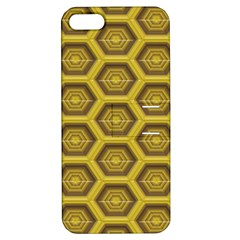 Golden 3d Hexagon Background Apple Iphone 5 Hardshell Case With Stand by Amaryn4rt