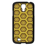 Golden 3d Hexagon Background Samsung Galaxy S4 I9500/ I9505 Case (Black) Front