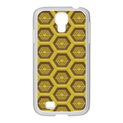 Golden 3d Hexagon Background Samsung Galaxy S4 I9500/ I9505 Case (white) by Amaryn4rt