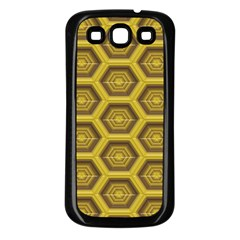 Golden 3d Hexagon Background Samsung Galaxy S3 Back Case (black) by Amaryn4rt