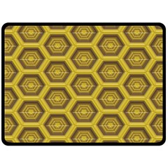 Golden 3d Hexagon Background Double Sided Fleece Blanket (large)  by Amaryn4rt