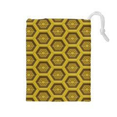 Golden 3d Hexagon Background Drawstring Pouches (large)  by Amaryn4rt