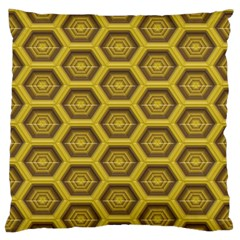 Golden 3d Hexagon Background Standard Flano Cushion Case (one Side) by Amaryn4rt