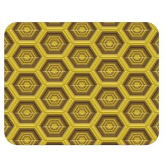 Golden 3d Hexagon Background Double Sided Flano Blanket (medium)  by Amaryn4rt