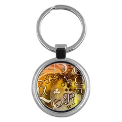 Symbols On Gradient Background Embossed Key Chains (round)  by Amaryn4rt