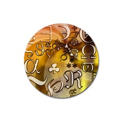 Symbols On Gradient Background Embossed Magnet 3  (round) by Amaryn4rt