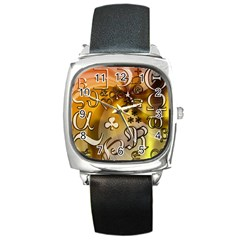 Symbols On Gradient Background Embossed Square Metal Watch by Amaryn4rt