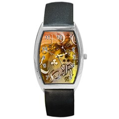 Symbols On Gradient Background Embossed Barrel Style Metal Watch by Amaryn4rt