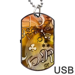 Symbols On Gradient Background Embossed Dog Tag Usb Flash (two Sides) by Amaryn4rt