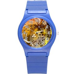 Symbols On Gradient Background Embossed Round Plastic Sport Watch (s) by Amaryn4rt