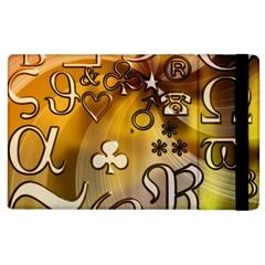 Symbols On Gradient Background Embossed Apple Ipad 3/4 Flip Case by Amaryn4rt