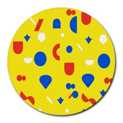 Circle Triangle Red Blue Yellow White Sign Round Mousepads by Alisyart