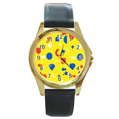 Circle Triangle Red Blue Yellow White Sign Round Gold Metal Watch by Alisyart