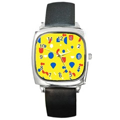 Circle Triangle Red Blue Yellow White Sign Square Metal Watch by Alisyart