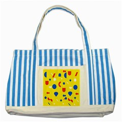 Circle Triangle Red Blue Yellow White Sign Striped Blue Tote Bag by Alisyart